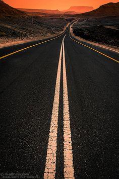 Sunset in road, Saudi Arabia