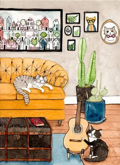 Living Room Illustration Watercolor - Watercolor Sketch Of An Interior, Watercolour A Living Room And Window Love Is Puuung Painting Couple Relationship Romance Illustration, Cats In The Original Cat Folk Art Ink Illustrations, Cute Illustration, Watercolor Sketch, Watercolor Paintings, Watercolours, Photo Chat, Cat Cards, Animal Drawings, Drawing Animals