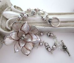 Vintage Glass Flower Upcycled Bracelet with Pearls, Crystals and Rhinestones - One of a Kind by JryenDesigns.etsy.com