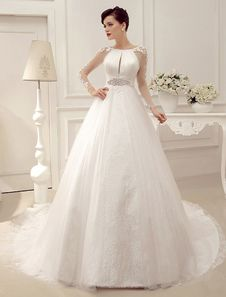 Ivory Chapel Train Applique Pleated Bridal Wedding Gown With Jewel Neck. Get unbelievable discounts up to 60% Off at Milanoo using Coupon & Promo Codes.