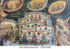CALIMANESTI, ROMANIA - AUGUST 18, 2014: Mural Religious Painting At Cozia Monastery. The Monastery was built by Mircea the Elder in 1388 and is also housing his tomb.