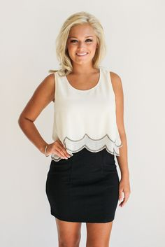 black and ivory scalloped dress – gallery. boutique
