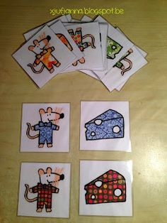 Memoryspel: kaas & muis Preschool Board Games, Math Activities, Ernest And Celestine, Maisy Mouse, Mouse Crafts, Activity Bags, File Folder Games, Memory Games, Bingo Cards