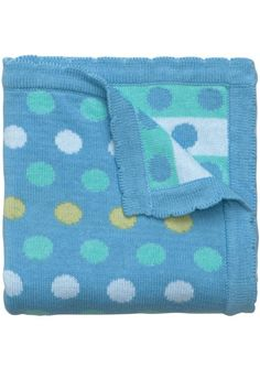 """This medium weight, soft cotton, knit blanket is happily dotted with fresh, fun, shades of blue! Finished with a beautiful scalloped hem.    Measures: 30"""" x 40""""   Blanket Bright Dots by Baby Elegant. Home & Gifts - Home Decor - Pillows & Throws Miami, Florida"""