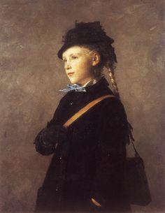 """The Artist's Daughter, Marie Anker"" (1881), by Swiss artist - Albert Anker (1831-1910), Oil on canvas, 81 x 65 cm. (31.89 x 25.59 in.), Kunstmuseum - Bern, Switzerland."