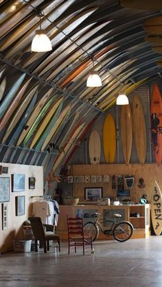 Surfboards, surfboards everywhere, but hardly a stick for sale ... which is fine by Bird.