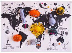 Gute Aussichten! Sehr schön und dekorativ ist die Wetter-Weltkarte von CORBY TINDERSTICKS. Spielerisch die Welt kennenlernen und selbst das Wetter planen. Die Karte aus Filz hat eine Größe von A2 u…