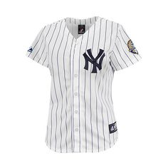 New York Yankees Mariano Rivera Commemorative Patch Women's Player... ($95) ❤ liked on Polyvore featuring tops, shirts, jersey, t-shirts, new york yankees shirts, woven top, button front shirt, sleeve shirt and new york yankees jersey