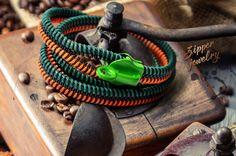 Green orange bracelets Minimalist zipper jewelry by ZIPPERjewelry, $36.00