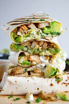 Chicken and Avocado Burritos.