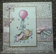 Pink baby card featuring a LOTV stamp
