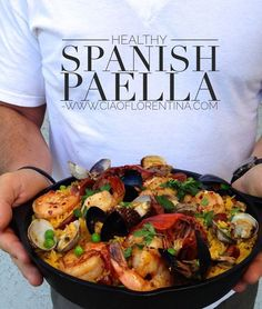 Healthy, Quick and Easy Spanish Seafood Paella Recipe made with the freshest shellfish and a little chicken andouille sausage. Fish Recipes, Seafood Recipes, Dinner Recipes, Cooking Recipes, Healthy Recipes, Seafood Paella Recipe, Best Paella Recipe, Seafood Risotto, Simple Recipes