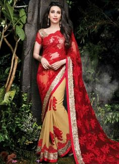 Karishma Kapoor Red And Cream Half And Half Net Zari work Party Wear Wedding Sarees