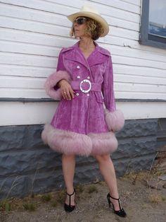 1960s Hot Pink Orchid Crushed Velvet Coat Faux Fur Trim Hippie Pimp Boho Rocker Medium 2013175.