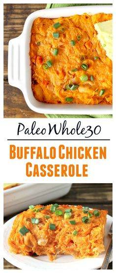 Whole30 Paleo Buffalo Chicken Casserole- healthy, full of flavor and pure comfort food! Gluten free, dairy free, low carb and delicious!!