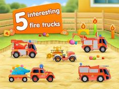 FireTrucks: 911 rescue (educational app for kids) for iPad - an interactive play app with 5 fire trucks.
