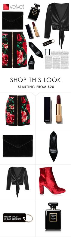 """""""Velvet Velour"""" by wynterrosette ❤ liked on Polyvore featuring Balmain, Rebecca Minkoff, Dsquared2, Lisa Marie Fernandez, Yves Saint Laurent, Various Projects and Chanel"""