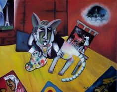 """self Portrait With Seven Fingers"""" After Marc Chagall"""
