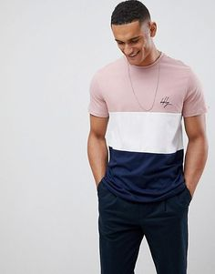 Buy New Look t-shirt with brooklyn embroidery in pink colour block at ASOS. With free delivery and return options (Ts&Cs apply), online shopping has never been so easy. Get the latest trends with ASOS now. Polo Shirt Design, Tee Shirt Designs, Look T Shirt, T Shirt Vest, Mens Sweatshirts, Mens Tees, Tomboyish Outfits, Mens Fashion Wear, Male Fashion
