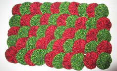 """Yoyos, 80 Handmade 2"""" Cotton Fabric, Christmas Red & Green Print, Ornaments, Hair Accessories, Home Decor, Pillows, Scrapbooks, Quilts by YoyosAndMoreByJill on Etsy"""