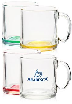 Clear Glass Coffee Mug With Handle Smooth Rim And Thick