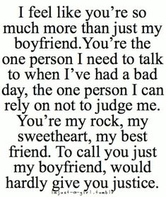 Cute Boyfriend Quotes for Him 49 Cute and Funny Boyfriend Quotes and Sayings for him with images. Win every boy with these beautiful boyfriend quotes and images for the one you love.These These may refer to: Love Quotes For Him Boyfriend, Cute Girlfriend Quotes, Boyfriend Boyfriend, Cute Things To Say To Your Boyfriend, Husband Quotes, Thank You Boyfriend Messages, Anniversary Quotes For Boyfriend, Love Letters To Your Boyfriend, Boyfriend Photos