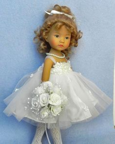 """""""ANGELIC"""" DOLL DRESS + MOHAIR WIG 7-8 + BOUQUET+ MORE FOR EFFNER LITTLE DARLING"""