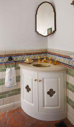 : Creative Spanish Colonial Remodel Mediterranean Bathroom Design Interior Used White Small Corner Bathroom Vanity Furniture Ideas