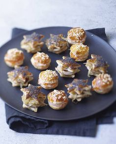 Party canapes - bake shapes of puff pastry - sandwich with whatever savoury fillings you fancy.