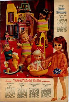 Page from Vintage catalog,Ideal Giggles Doll - April Shower - Crissy - Flatsy in House - Toddler Thumbelina