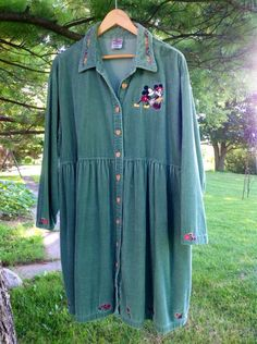 Disney Tunic Dress Corduroy Micky Minnie Mouse Tunic, Plus Size Sage Green Vintage Tunic-XL XXL 1X on Etsy, $48.00