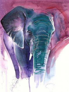 Elephant Poster by Laura Slade. All posters are professionally printed, packaged, and shipped within 3 - 4 business days. Elephant Poster, Elephant Love, Elephant Art, Save The Elephants, Acrylic Painting Techniques, Watercolor Animals, Watercolour, Pebble Painting, Chalk Art