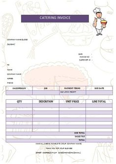 Catering Service Invoice  Excel Invoice Template