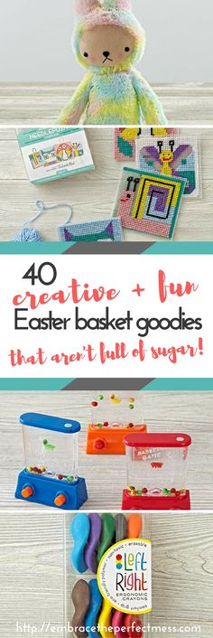 Love that this list of creative Easter basket ideas goes from baby all the way up to tween!  I can't believe how many cool ideas there are here. I love putting stuff in my kids' Easter baskets that aren't candy!