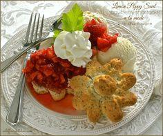 Lemon Poppy Seed Strawberry Shortcake A La Mode with Champagne