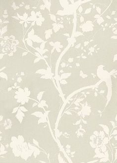 Oriental Garden Linen (3321392) - Laura Ashley Wallpapers - A beautiful and elegant design of an oriental floral-trail of cherry blossoms and dainty birds in off white on a linen neutral  background. Additional colourways also available. Please request a sample for true colour match.
