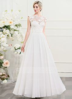 [R$ 579.60] Vestidos princesa/ Formato A Decote redondo Longos Tecido de seda Vestido de noiva (002107547)