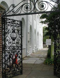 Charleston South Carolina Church Side Yard Gate Photograph
