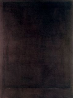 "Mark Rothko, No. 8, Black Form Paintings, 1964.  Rothko created 14 large, dark paintings for the Rothko Chapel at the end of his life. The chapel was conceived to be Roman Catholic. Rothko hung three large tryptichs in the chapel to represent the crucifixion. ""The effect is to surround the viewer with massive, imposing visions of darkness."" Wikipedia"