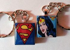 Superman and Wonder Woman keyrings