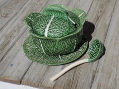Vintage Bordallo Pinheiro Estate CABBAGE SOUP TUREEN with Ladle and Underplate…