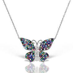 Colier argint cu pietre 44 cm colorate Fluture - MCN0030 Diamond, Jewelry, Jewlery, Jewerly, Schmuck, Diamonds, Jewels, Jewelery, Fine Jewelry