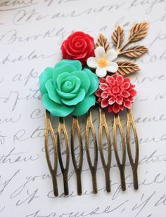Teal Rose Comb Flower Hair Comb Bridal Flowers by apocketofposies, $29.00 This is sooo pretty!