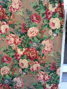Vintage Fabric Vintage Yardage NOS Floral Fabric Cabbage Roses Morning Glories A Jay Yang Design Screen Print Vat Color