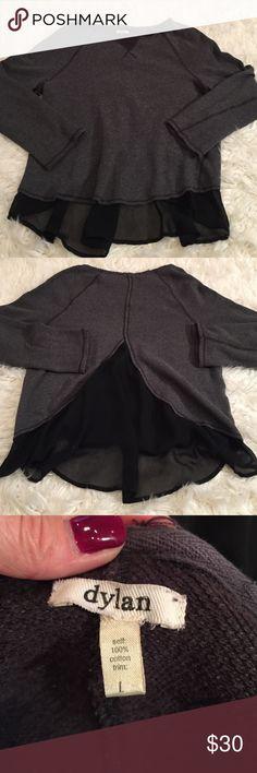 dylan by true grit split back sweatshirt EUC no flaws has a raw edge neckline and sheer back flowy panel dylan by true grit Tops Tunics