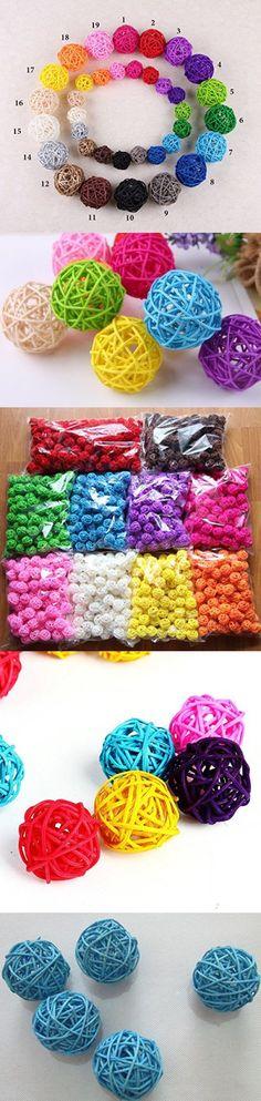 10pcs Handmade Wicker Rattan Balls, Garden, Wedding, Party Decorative Crafts, Vase Fillers, Rabbits, Parrot, Bird Toys (3CM, 7# Light Blue)