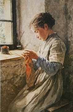 Girl knitting by the window.by Albert Anker (Swiss, 1836-1910)