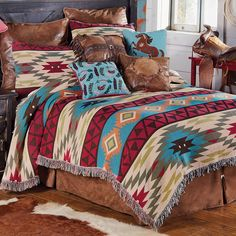 Shop Lone Star Western Decor today and take advantage of markdowns up to on Western bedding, like this Queen Size Southwest Expressions Tapestry Coverlet! Southwest Bedroom, Southwestern Bedding, Southwest Decor, Southwestern Decorating, Southwest Style, Western Furniture, Rustic Furniture, Cabin Furniture, Furniture Design