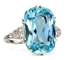 Azure Seas: Art Deco Aquamarine Diamond Ring - The Three Graces