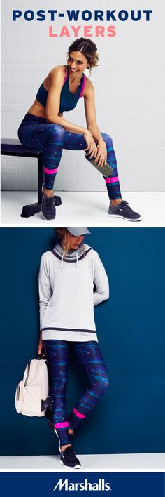 Take your look from athletic to athleisure! First, get your fitness on in a two-tone sports bra, paired with printed leggings and black and white sneakers. (Don't forget a printed water bottle.) Then take your workout wear from the studio to the street! It's easy to run errands after the gym — just add a comfy heather-gray hoodie and a leather baseball cap. Then grab a blush-tone backpack to keep the essentials at your side. Visit Marshalls today and bring some fun to your fitness!